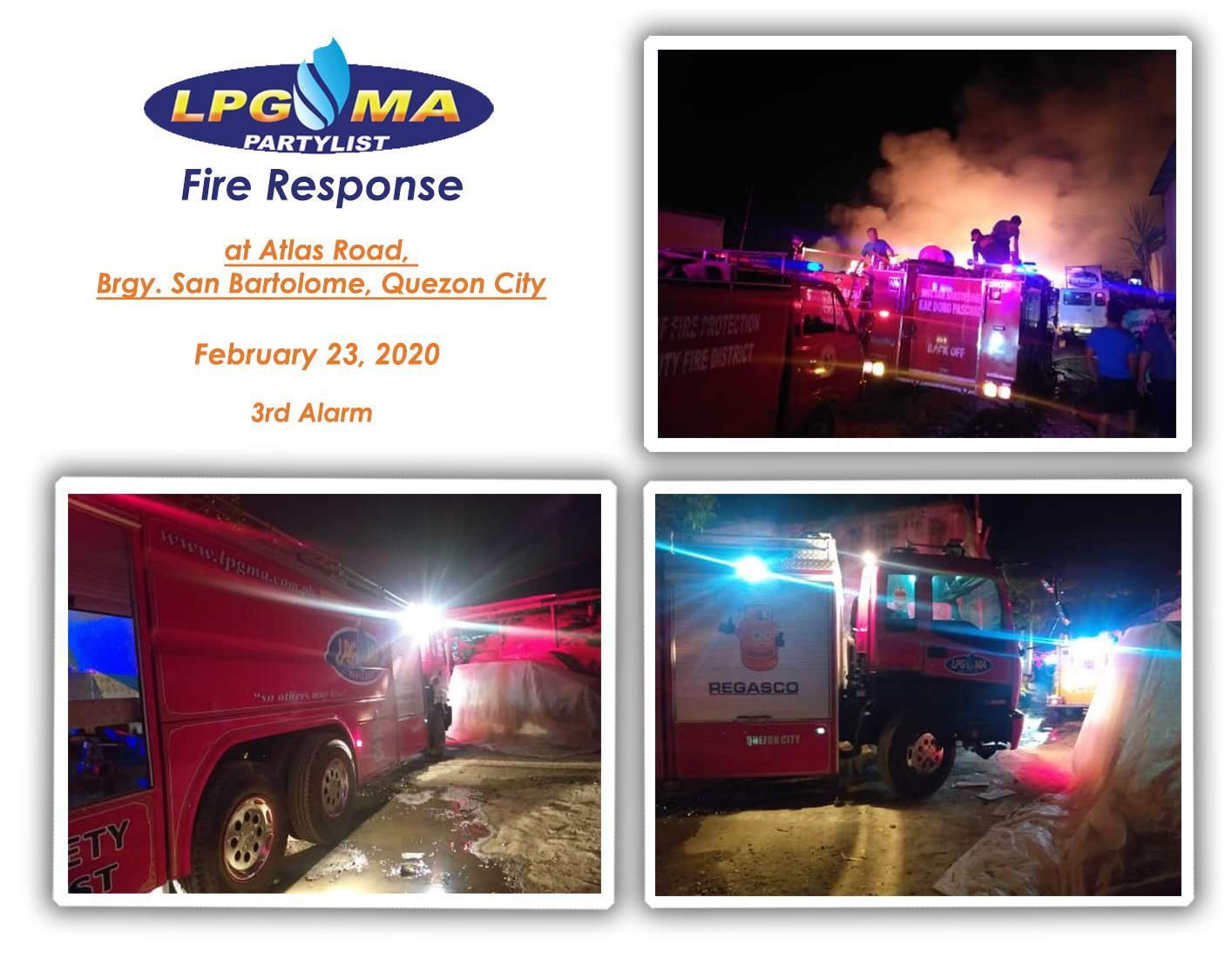 LPGMA Fire Response in Brgy San Bartolome Quezon City